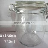 airless tight sealed food storage glass jar with clip top glass lid