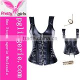 Sexy Women Black Corsets Vest Overbust Leather Corsets Gothic corselet Steampunk