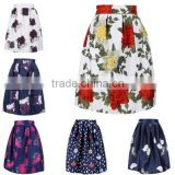 Fashion Stylish Women's European Retro Style Knee-Length Floral Bubble Puff Printed Pleated Skirt
