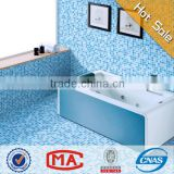 HF JY-SW-03 lowest price light blue sand look flooring tile glass mosaic square wall tiles and blue bathroom floor tiles