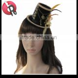 Feather golden Lace decorative fascinator Hair Clips black Mini Top Hat Burlesque Fancy Dress
