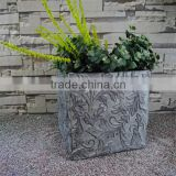 Fiberglass Relief Flower French Square Box Planter