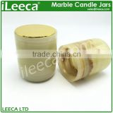 Nature marble stone candle jar with various colors copper lid