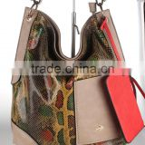 Snake printing pu tote bags with small swing bag women handbag wholesale 2016