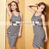2015 women fashion black and white knee length striped sleeveless bodycon casual dresses