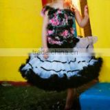 2015 top quality white and black Chiffon bowknot skirt for Children Fluffy skirts baby girls tutu skirts