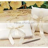 wholesale ivory wedding guest books with ribbon bowknot silk ring pillows handmade wedding collections accessories