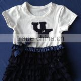 XF-347 Children's boutique clothing short sleeve black lace bow adorn baby girl top kids T-shirt clothes