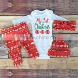 1st Christmas rompers with baby pants 2 pcs deer cotton outfits