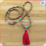 XP-PN-1476 Factory Yiwu wholesale turquoise wood mala beads necklace wooden beads tassel necklace