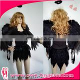 Sexy Dark Black Jagged Fallen Angel Costume Wings