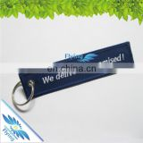 good keychain price, customized fabric embroidery key ring/tag with both side logo