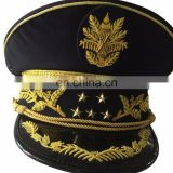 top quality of gold embroidery visor and cap band military peak cap