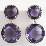 David Yurman Women Sterling Silver Mini Amethyst Chatelaine Earrings