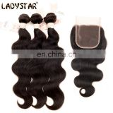 2017 hot sell body wave brazilian human hair bundles with closure factory wholesale