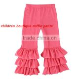 Fashion 3 ruffle pants cotton toddler pants in sweet pink wholesale boutique baby clothes