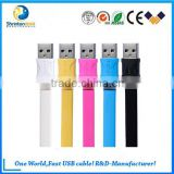 wholesale aluminum plug TPE flat data cable usb cableuse for Samsung Hauwei smartphone