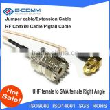 "Hot sale!!SMA Female Jack nut Right Angle Connector Switch UHF Female Jack Connector RG178 Cable 15CM 6"" Adapter"