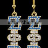 Zeta phi beta rhinestone charm earrings in sapphire and clear high quality cheap sorority greek jewelry 2016 wholesale