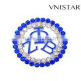 Wholesale 2016 vnistar new round zeta phi beta double stone brooch girls' fancy greek ZPB pin jewelry cheap high quality