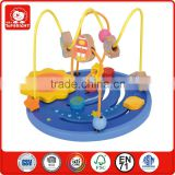 hot-sale blue universe clematis with beads and sling function base small wooden toys high quality safty educational toys wooden