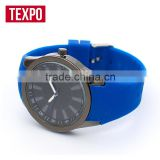 Custom made blue plating color silicone band fashion cheap silicone rubber strap watches,silicone wristband watch,silicone watch