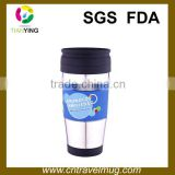 Double wall decorate travel coffee mugs with sleeve