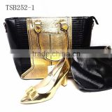 TSB252-1matching black and gold shoes and bags high heels shoes and bags for ladies wedding