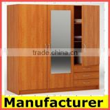 wooden designer almirah wardrobe with mirror manufacturer price                                                                         Quality Choice