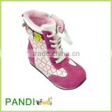 New girls kids childrens suede leather and microfiber stitched flower biker riding boots shoes