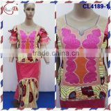 CL4189 High quality pretty design wholesale women dress,african bazin embroidery design dress