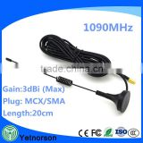ADS-B 1090Mhz Antenna with MCX Male Connector Magnetic Base RG174 3m Cable