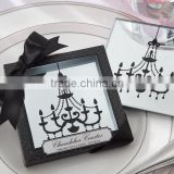 Square crystal glass cup coaster printed chandelier pattern for home wedding decorations