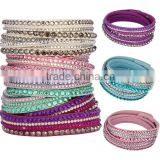 Fashion many Layer Wrap Bracelets Slake Leather Bracelets With Crystals Couple Jewelry for women Clasp Charm Bracelets Bangles