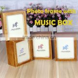 Christmas gift small wood photo frame with music box                                                                         Quality Choice
