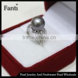 nature pearl jewelry price round sea pearl price wholesale pearl ring real 925 silver ring