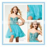 Hot Sale Sweetheart Organza Short Evening Dress Heavy Sequins Beaeds Prom Dress Cocktail Dress Evening Dresses 2015(EVTE-1012)