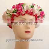 large flower printed environmently friendly shower caps or hats for hotel and other places