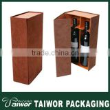 Brown 2 bottles packaging wine paper boxes, Two gray for the glasses wine storage