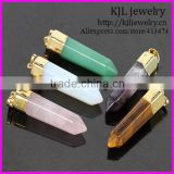 KJL-BD5184 Wholesale Natural Gold Plated Agate Pendant, Amethyst Rose tiger eye Agate Stone Point Pendant