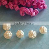 new design 8mm straight hole rose flower ball ABS plastic pearl for wedding Bridal bouquet