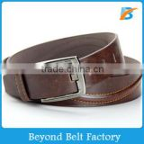 "Beyond Men's Casual Full Grain Real Leather Belt 1-1/2"" Wide with Stitching Decor and Brushed Nickle Finish Buckle"