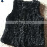 Simple design knitted genuine rabbit fur winter women vest without collar black color
