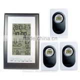 wireless professional Weather Station with 3 Transmitter/ Weather Station with with temperature trend clock