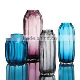 3 pieces of set colourful cylinder striped tall centerpiece glass flower vases with different design for home decoration