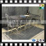 Clear acrylic legs dining table customzied PMMA glass square dining table with marble top from china manufacturer