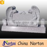 European style carved flower gray granite double angel tombstone with double heart headstone NTGT-060L