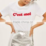 Wholesale custom new arrival fashion girls design slogan print white tshirt 100% cotton