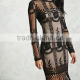 Latest Fashion Elegant Sexy floral and geo embroidery Black Embroidered & Fringe Dress