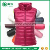 New Stylish Winter Multicolor Stand Collar Ultralight Down Feather Vest for Woman